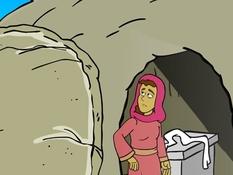 Maria bij het graf, 13 Bijbelplaten voor het digibord, kleuteridee.nl , Bijbelles voor kleuters.