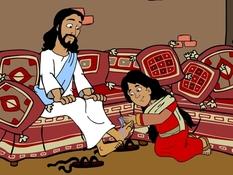 Maria zalft de voeten van Jezus, 27 Bijbelplaten voor het digibord, kleuteridee, Bijbelles voor kleuters.