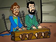 Paulus en Silas in de gevangenis, 27 Bijbelplaten voor het digibord, kleuteridee.nl , Bijbelles voor kleuters.