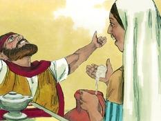 Elia en de weduwe , 13 Bijbelplaten voor het digibord, kleuteridee , Bijbelles voor kleuters