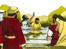 Jezus gedoopt, 10 Bijbelplaten voor het digibord, kleuteridee.nl , Bijbelles voor kleuters.