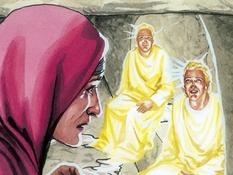 Maria Magdalena bij het graf, 11 Bijbelplaten voor het digibord, kleuteridee.nl , Bijbelles voor kleuters.