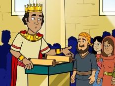 Koning Josia leest voor uit de boekrol, 25 Bijbelplaten voor het digibord, kleuteridee.nl , Bijbelles voor kleuters.