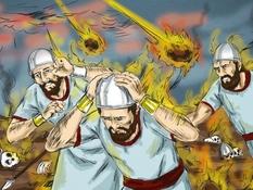 Koning Ahazia, vuur van de hemel, 14 Bijbelplaten voor het digibord, kleuteridee.nl , Bijbelles voor kleuters.