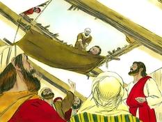 Vier mannen en een zieke vriend, 10 Bijbelplaten voor het digibord, kleuteridee.nl , Bijbelles voor kleuters.