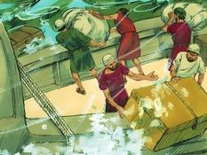 Paulus heeft schipbreuk, 27 Bijbelplaten voor het digibord, kleuteridee.nl , Bijbelles voor kleuters.