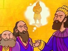 Sadrach Mesach en Abed Noego, 15 Bijbelplaten voor het digibord, kleuteridee, Bijbelles voor kleuters.
