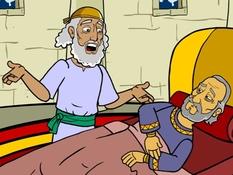 Hizkia wordt beter , 17 Bijbelplaten voor het digibord, kleuteridee , Bijbelles voor kleuters