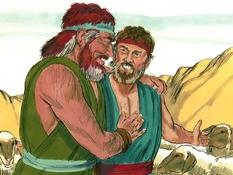 Verzoening van Jacob en Ezau, 19 Bijbelplaten voor het digibord, kleuteridee.nl , Bijbelles voor kleuters.