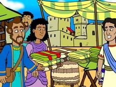 Paulus bij Priscilla en Aquila, 18 Bijbelplaten voor het digibord, kleuteridee.nl , Bijbelles voor kleuters.