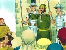 Paulus gevangen genomen, 24 Bijbelplaten voor het digibord, kleuteridee.nl , Bijbelles voor kleuters.