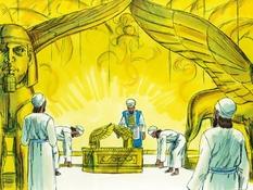 Salomo bouwt de tempel, 16 Bijbelplaten voor het digibord, kleuteridee.nl , Bijbelles voor kleuters.