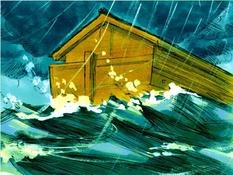 Noach en de ark, 24 Bijbelplaten voor het digibord, kleuteridee.nl , Bijbelles voor kleuters.