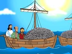 Een wonderlijke visvangst, 30 Bijbelplaten voor het digibord, kleuteridee.nl , Bijbelles voor kleuters