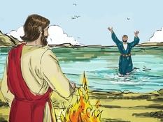 Petrus, heb je Mij lief, 16 Bijbelplaten voor het digibord, kleuteridee.nl , Bijbelles voor kleuters.