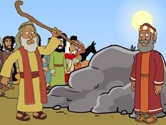 Mozes is ongehoorzaam, water uit de rots, platen bij de Bijbel, kleuteridee