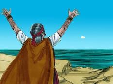 Elia bidt om regen, 19 Bijbelplaten voor het digibord, kleuteridee , Bijbelles voor kleuters