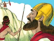 David spaart het leven van koning Saul, 16 Bijbelplaten voor het digibord, kleuteridee.nl , Bijbelles voor kleuters.