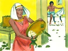 Mozes en de plagen deel 1, 28 Bijbelplaten voor het digibord, kleuteridee.nl , Bijbelles voor kleuters.