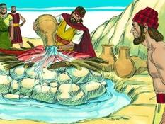 Elia op de Karmel, 19 Bijbelplaten voor het digibord, kleuteridee , Bijbelles voor kleuters