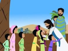 Laat de kinderen tot Mij komen,Jezus zegent de kinderen, 18 Bijbelplaten voor het digibord, kleuteridee.nl , Bijbelles voor kleuters.