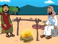 Jezus vraagt Petrus, heb je Mij lief, 26 Bijbel platen voor het digibord, kleuteridee.nl , Bijbelles voor kleuters.