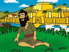 Nebukadnezar eet gras als een koe, Daniël, 21 Bijbelplaten voor het digibord, kleuteridee.nl , Bijbelles voor kleuters.
