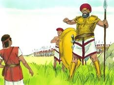 David en Goliath, 20 Bijbelplaten voor het digibord, kleuteridee.nl , Bijbelles voor kleuters.