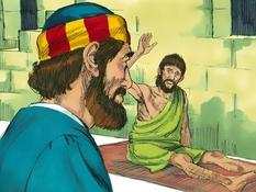 Petrus en Enéas, 8 Bijbelplaten voor het digibord, kleuteridee.nl , Bijbelles voor kleuters.