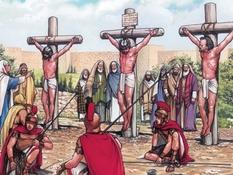 Jezus gekruisigd en begraven, 57 Bijbelplaten voor het digibord, kleuteridee.nl , Bijbelles voor kleuters.