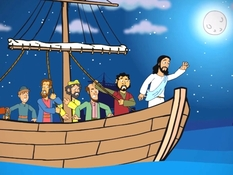 Jezus stilt de storm 2, 22 Bijbelplaten voor het digibord, kleuteridee.nl , Bijbelles voor kleuters.