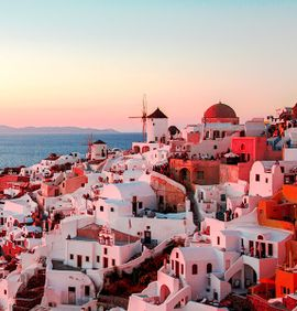 Sunset overlooking houses in Santorini