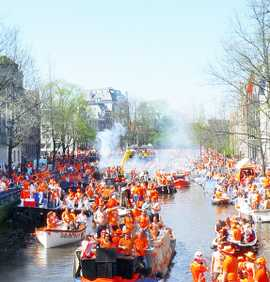 King's Day celebration on the canals