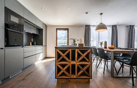 Modern black kitchen at Ravanel luxury accommodation in Chamonix