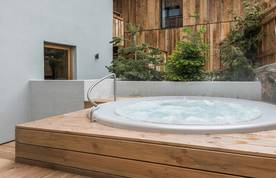 Outside hot tub of Meranti accommodation in Morzine