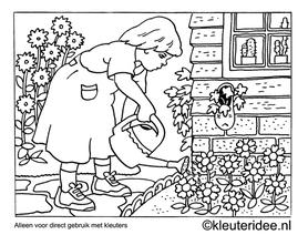 kleurplaat in de tuin, kleuteridee ,Preschool garden coloring.