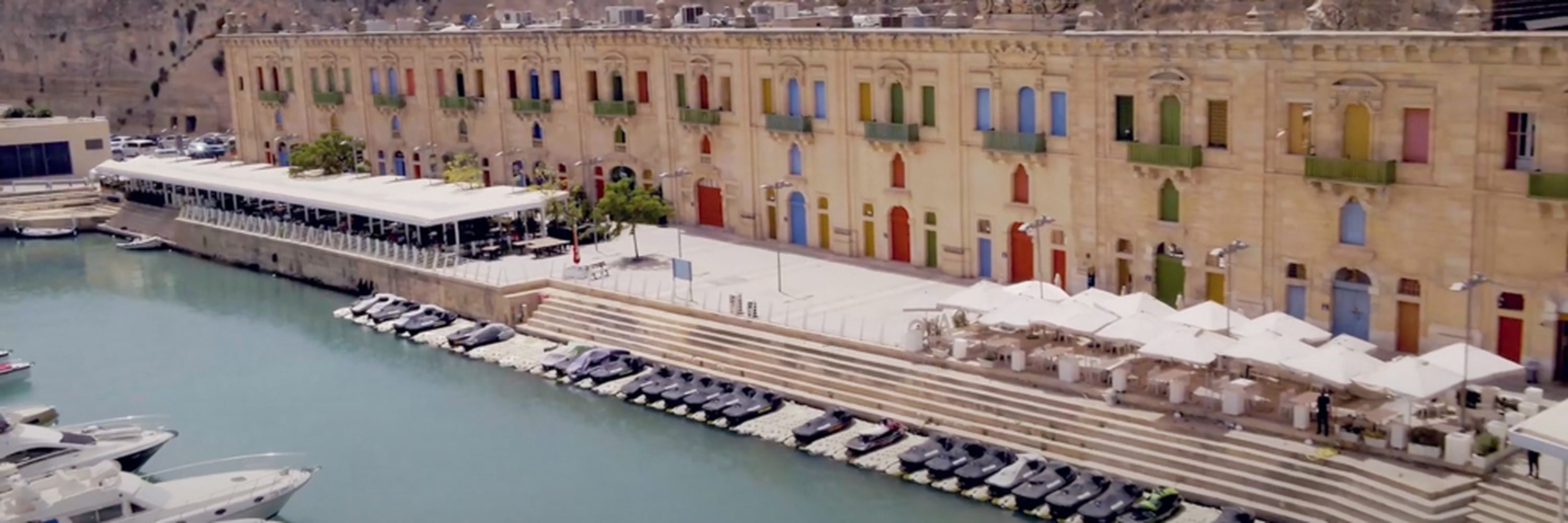 An aerial view of the Valletta Waterfront from the motion blur commercial