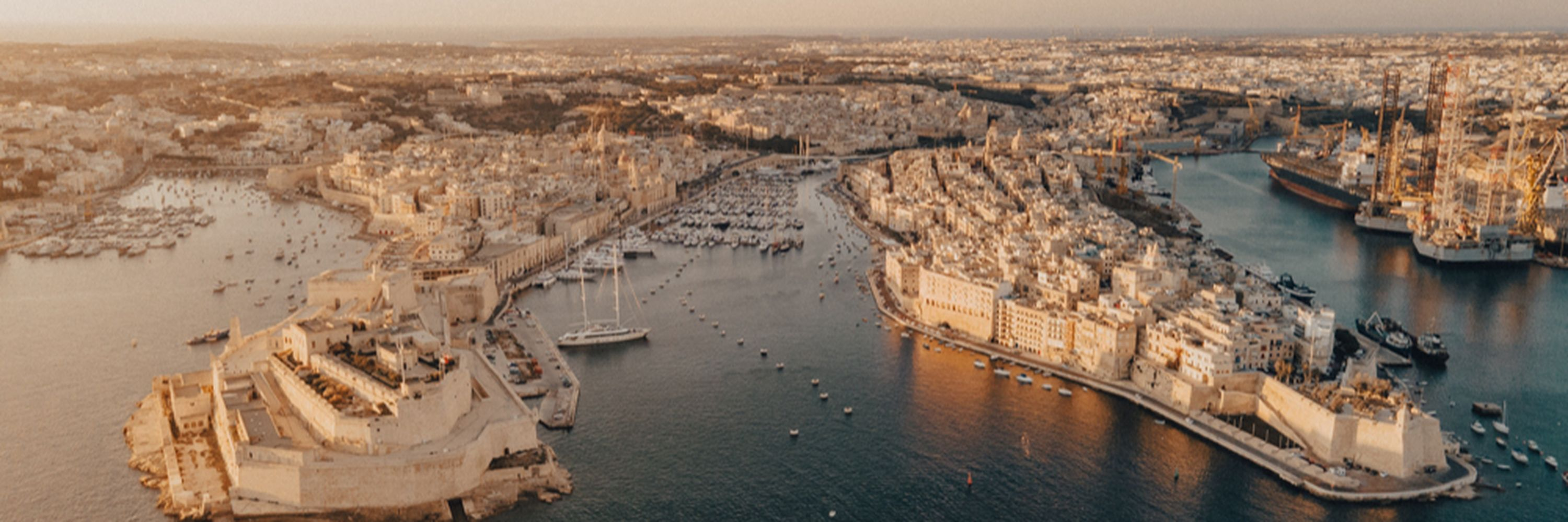 an aerial view of the Grand Harbour, Valletta, Malta
