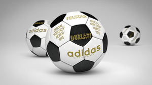 "3D-Illustration © by Yellow wie ""Telstar Durlast"" von Adidas. Fußball-Design 1970"