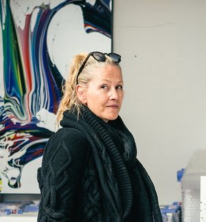 Katrin Fridriks in her studio looking to the side