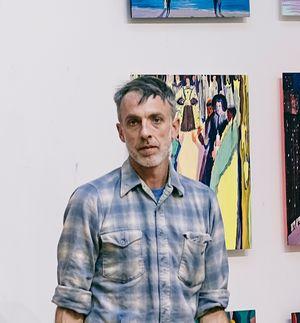 Jules de Balincourt in his studio