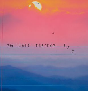 Print that look like notebook page with scenery background and lettering, The Last Perfect Day by Friedrich Kunath - detail shot