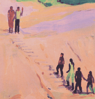 Detail of print with figures walking up a sandy beach