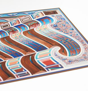 Shaped print with psychedelic image, Zodiac Wave by Zach Harris