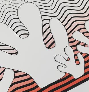Print with minimalistic depiction of waves and corals, Morphing Waves with Fire Corals by Claudia Comte - detail shot