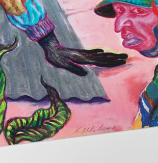 Print with metallic finishes of 3 people in surreal landscape, In The Silence Of The Drum by Simphiwe Ndzube - detail shot