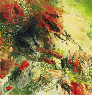 Abstract orange and green image, Between Two Poles by Wang Yan Cheng - detail shot