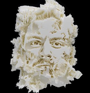 3D printed relief of face, Vista Series #2 by Vhils - detail shot