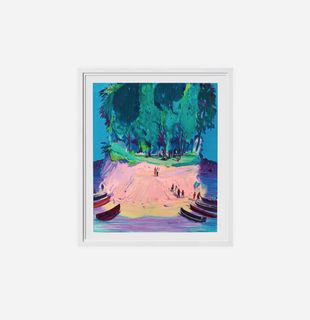 framed print of a colourful island with boats on the shore