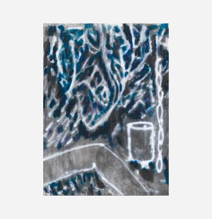 Abstract print of backyard with blue and grey, Paul's Backyard by Chris Succo